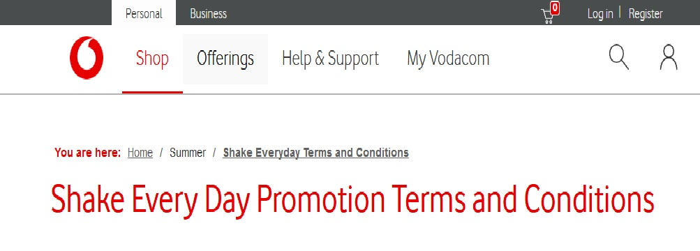 Vodacom Shake Every Day Promotion 2019 – South Africa Jobs